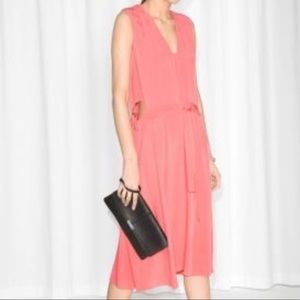 & Other Stories | Coral Tie Waist Cut Out Dress